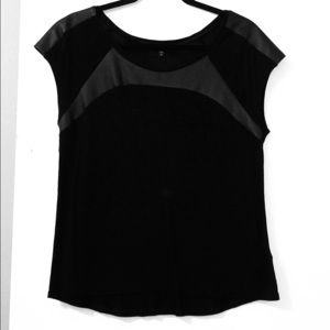 Black express top with pleather detail